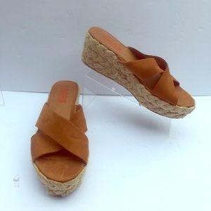 Kors Michael Kors Espadrille Brown Wedge Sandals